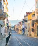 里斯本老镇街道 葡萄牙 库存照片
