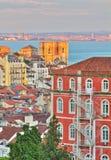 里斯本葡萄牙日落 库存照片