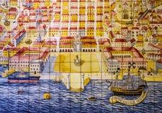 里斯本葡萄牙 古老陶瓷砖,博物馆Azulejo 库存图片