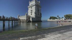里斯本葡萄牙 2015年9月:贝伦塔, Manueline建筑学,葡萄牙Manuelino样式的一个著名杰作 股票录像