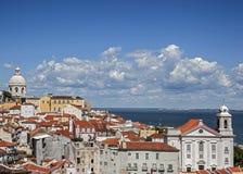 里斯本葡萄牙 观察台波塔斯角做Sol 库存照片