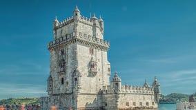 里斯本葡萄牙 贝伦塔Torre de贝拉母是一个被加强的塔位于塔霍河的嘴 股票视频