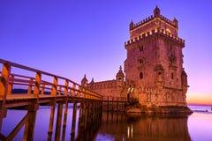 里斯本葡萄牙Torre de贝伦塔日落 库存图片