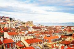 里斯本,葡萄牙地平线  库存照片