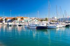 里斯本,葡萄牙小游艇船坞在贝拉母 库存图片