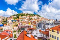 里斯本,葡萄牙市地平线 库存照片
