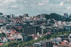 里斯本,葡萄牙老镇鸟瞰图  免版税库存照片