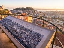 里斯本,葡萄牙都市风景,日落的 库存图片