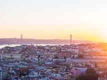 里斯本,葡萄牙都市风景,日落的 免版税库存照片