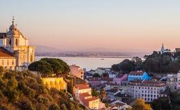 里斯本,葡萄牙都市风景,日落的 免版税图库摄影