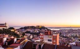 里斯本,葡萄牙都市风景,日落的 库存照片