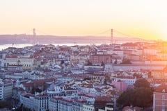里斯本,葡萄牙都市风景,日落的 免版税库存图片