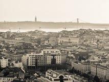 里斯本,葡萄牙都市风景,日落的 图库摄影