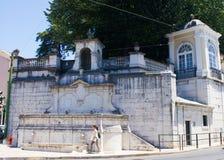 里斯本,葡萄牙:在缓慢(正方形)的baroc喷泉做Rato 库存照片