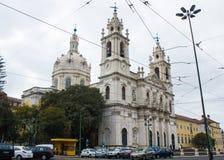 里斯本,葡萄牙:Estrela大教堂,东南的透视 免版税库存图片