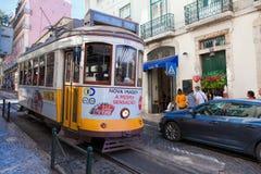 里斯本,葡萄牙- 9月14 2017年 在cit的葡萄酒电车 免版税库存图片