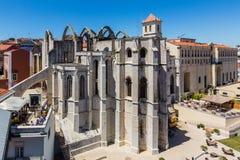 里斯本,葡萄牙- 2017年5月17日:卡尔穆女修道院在里斯本 免版税库存图片