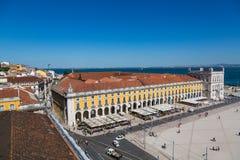里斯本,葡萄牙- 2017年5月19日:商业广场鸟瞰图  免版税库存图片
