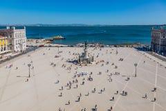 里斯本,葡萄牙- 2017年5月19日:商业广场鸟瞰图  库存图片