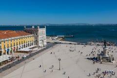 里斯本,葡萄牙- 2017年5月19日:商业广场鸟瞰图  库存照片