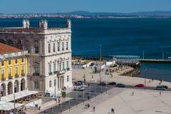 里斯本,葡萄牙- 2017年5月19日:商业广场鸟瞰图  免版税库存照片