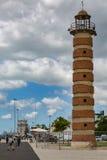 里斯本,葡萄牙- 2017年5月18日:在塔霍河Riv的老灯塔 免版税库存照片