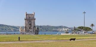 里斯本,葡萄牙- 5月15 :贝伦塔在2014年5月15日的里斯本 贝拉母塔 免版税库存图片