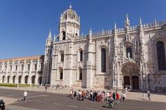里斯本,葡萄牙- 5月15 :Jerà ³ nimos修道院在2014年5月15日的里斯本 Jeronimos -已故的哥特式曼纽尔的最盛大的纪念碑 免版税库存图片