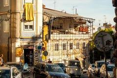 里斯本,葡萄牙- Septmember 19日2016年:在Viewpoint de圣诞老人Luzia附近的街道 免版税库存图片