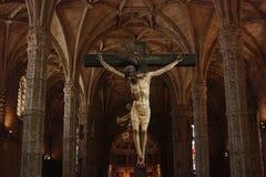 里斯本,贝拉母, Jeronimos教会-耶稣受难象 库存照片
