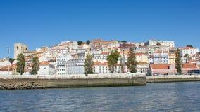 里斯本(里斯本),葡萄牙、江边和Alfama小山 库存照片