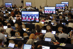 里根总统图书馆, SIMI谷, LA,加州- 2015年9月16日,媒介在共和党总统辩论期间的屑子室 免版税库存照片