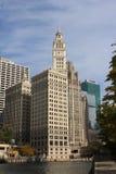 里格利大厦在芝加哥河站立在芝加哥 库存照片