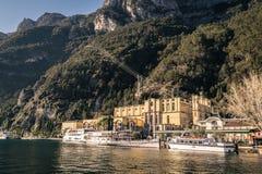 里瓦德尔加尔达,特伦托,意大利的水力发电站 免版税库存图片