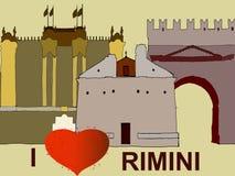 里米尼有心脏和纪念碑的 向量例证