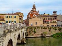 里米尼-老城市和Tiberius桥梁 免版税图库摄影