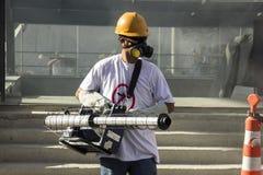 里约增强与Zika的蚊子伊蚊属aegypti的战斗 库存图片