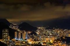 里约热内卢上面的夜视图  免版税图库摄影