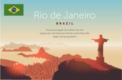 里约热内卢地平线 雕象在巴西城市上上升 在科帕卡巴纳海滩的日落天空 也corel凹道例证向量 库存图片