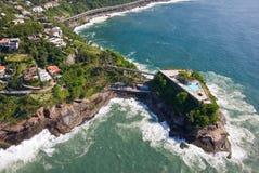 里约热内卢海岸的鸟瞰图 库存照片