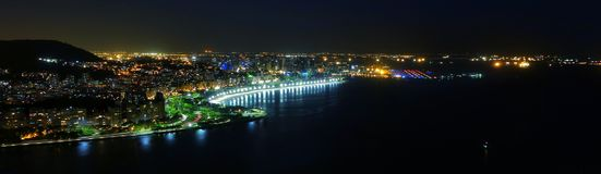 里约热内卢,巴西夜间视图  免版税库存照片