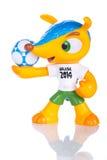 里约热内卢- 2014年5月18日:Fuleco塑料吉祥人 Fuleco是 免版税库存图片