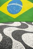 里约热内卢巴西科帕卡巴纳巴西人旗子 免版税库存图片