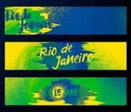 里约热内卢2016年,水平的横幅,海报在与橡胶,污点污迹的黑背景隔绝的模板集合 库存图片