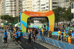里约2016年奥运会的里约2016奥林匹克自行车道竞争的终点线在里约热内卢 免版税库存照片