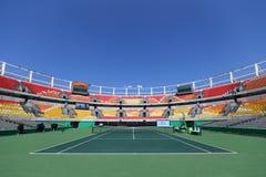 里约2016年奥运会的主要网球地点玛丽亚埃丝特布埃诺法院在奥林匹克网球中心 图库摄影