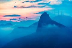 里约de Janairo,巴西日落视图  图库摄影