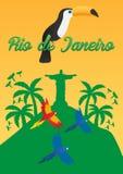 里约de Jeaneiro Poster 旅行在巴西 3d美国美好的尺寸形象例证南三非常 基督救世主雕象 toucan 三只鹦鹉 皇族释放例证