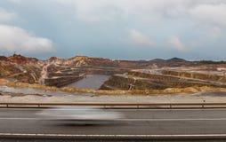里约Tinto矿和汽车足迹 库存图片