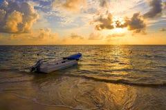 里维埃拉玛雅人日出在加勒比墨西哥 免版税库存照片